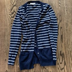 Navy and white stripped cardigan